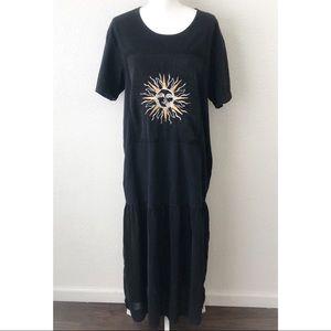 Johnny Was Vintage Black T Shirt Maxi Dress Size M